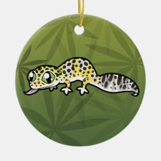 Cartoon Leopard Gecko (add your own message) Double-Sided Ceramic Round Christmas Ornament