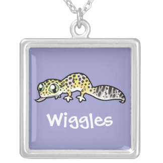 Cartoon Leopard Gecko (add your pets name) Square Pendant Necklace