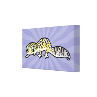 Cartoon Leopard Gecko Stretched Canvas Print
