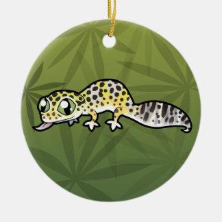 Cartoon Leopard Gecko Double-Sided Ceramic Round Christmas Ornament