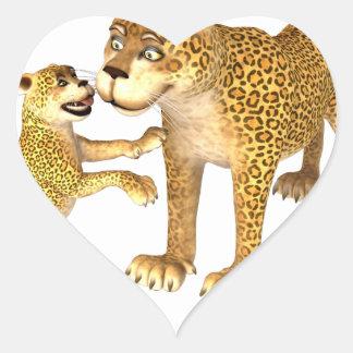Cartoon Leopard Mother & Son Heart Sticker