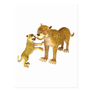 Cartoon Leopard Mother & Son Postcard