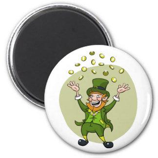 Cartoon Leprechaun 2 Inch Round Magnet