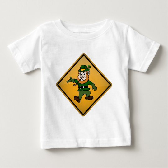Cartoon Leprechaun Warning Sign Baby T-Shirt