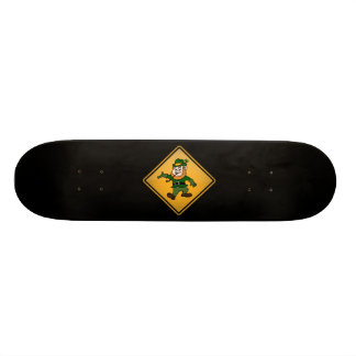 Cartoon Leprechaun Warning Sign Skateboard Deck