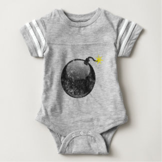 Cartoon Letterpress Style Bomb Baby Bodysuit