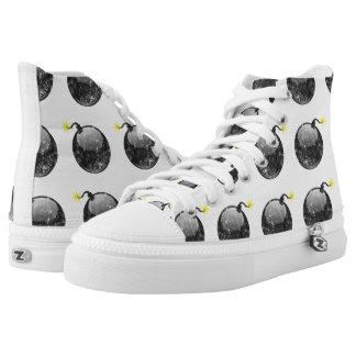 Cartoon Letterpress Style Bomb Printed Shoes
