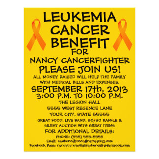 Cartoon Leukemia Cancer Benefit Flyer