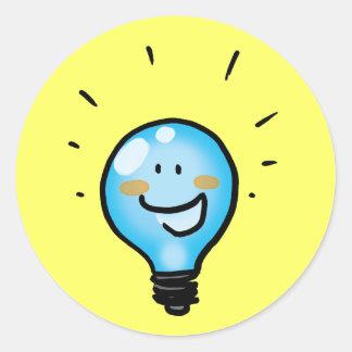 Cartoon light bulb character sticker
