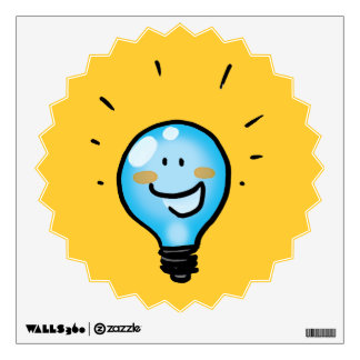 Cartoon light bulb character wall sticker