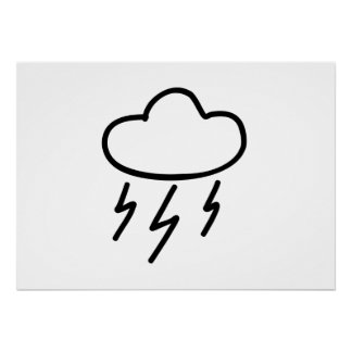 Cartoon Lightning Bolts in Cloud Posters