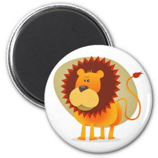Cartoon Lion 2 Inch Round Magnet