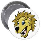 Cartoon Lion 4 Inch Round Button