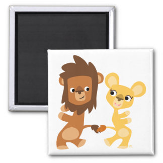Cartoon Lion and Lioness  dancing magnet