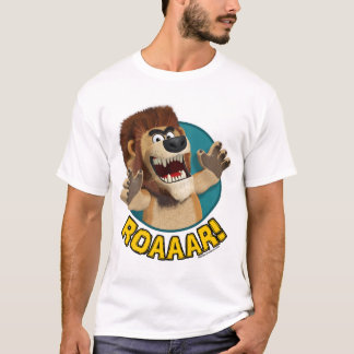 Cartoon Lion Animal on White Material T-Shirt