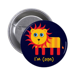 Cartoon Lion Birthday & Age Button