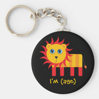 Cartoon Lion Birthday & Age Keychain