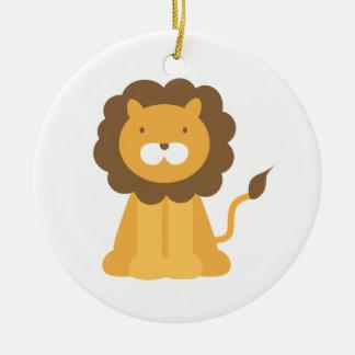 Cartoon Lion Double-Sided Ceramic Round Christmas Ornament