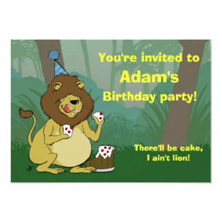 Cartoon Lion Eating Cake - Fun Birthday Invitation