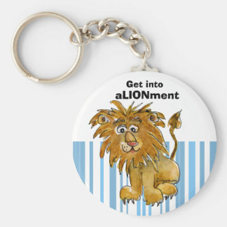 Cartoon Lion Get into Alignment Keychain