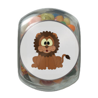 Cartoon Lion Glass Candy Jars
