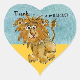 Cartoon Lion  Heart Thank You Sticker