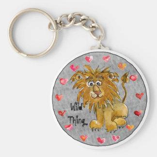 Cartoon Lion Hearts Color/Text Custom Keychains
