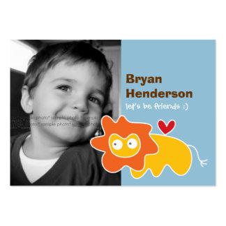 Cartoon Lion Kids Custom Photo Playdate Card Business Card Template