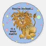 Cartoon Lion Party Invitation Custom Sticker