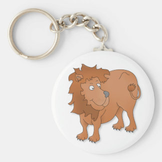 Cartoon lion, playing with his tail keychain
