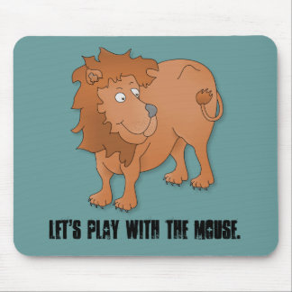 Cartoon lion, playing with his tail mouse pad
