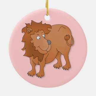 Cartoon lion, playing with his tail christmas tree ornaments