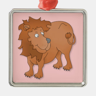 Cartoon lion, playing with his tail ornaments