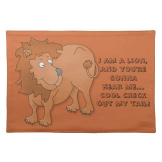 Cartoon lion, playing with his tail placemat