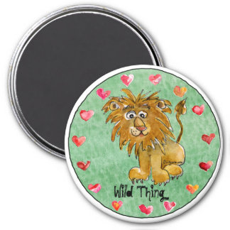 Cartoon Lion Round Personalized Magnets