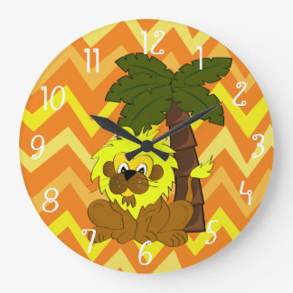 Cartoon lion standing in front of a palm tree large clock