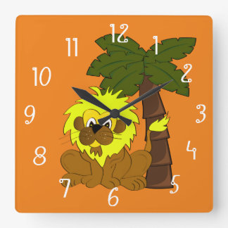 Cartoon lion standing in front of a palm tree square wall clock