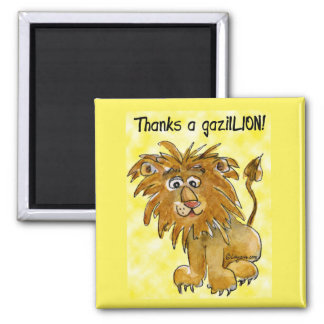 Cartoon Lion Thank You Magnet Yellow