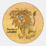 Cartoon Lion Thanks a milLION Custom Stickers