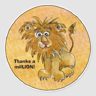 Cartoon Lion Thanks a milLION Custom Stickers