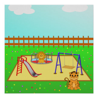 Cartoon Lion & Tiger in a Playground from $12.80 Poster