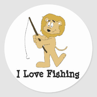 Cartoon Lion With A Fishing Pole Classic Round Sticker