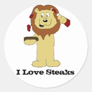 Cartoon Lion With Steaks Classic Round Sticker