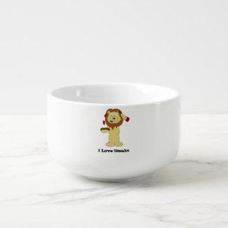 Cartoon Lion With Steaks T-Shirt Soup Mug