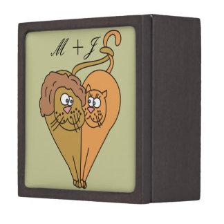 Cartoon Lions in Love Monogram Medium Gift Box Premium Trinket Box