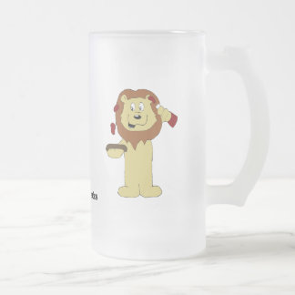 Cartoon Lions With Steak And Sauce Frosted Glass Beer Mug