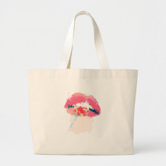 Cartoon lips with lollipop large tote bag