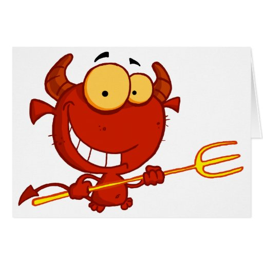Cartoon Little Devil With Pitchfork Greeting Card