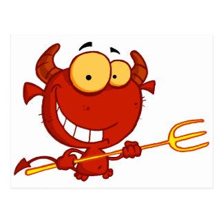 Cartoon Little Devil With Pitchfork Postcard