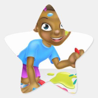 Cartoon Little Girl Painting Star Sticker
